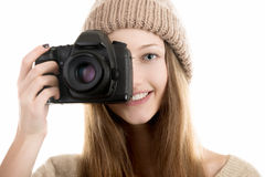 Smiling teenage girl take a photograph Royalty Free Stock Images