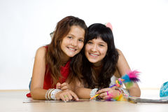 Smiling teenage girls Stock Image