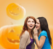 Smiling teenage girls in casual clothes Royalty Free Stock Images