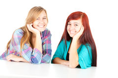 Smiling teenage girls friends Stock Image