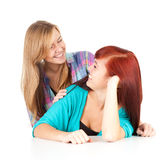 Smiling teenage girls friends Royalty Free Stock Photo