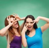 Smiling teenage girls having fun Royalty Free Stock Photography