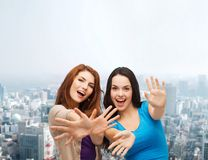 Smiling teenage girls having fun Stock Image