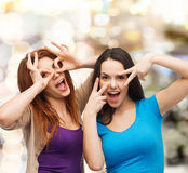 Smiling teenage girls having fun Stock Photography