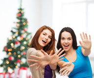 Smiling teenage girls having fun Stock Photos