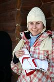 Smiling teenage snowboarder girl Stock Image