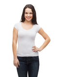 Smiling teenager in blank white t-shirt Stock Photography