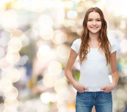 Smiling teenager in blank white t-shirt Royalty Free Stock Photo