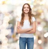 Smiling teenager in blank white t-shirt Royalty Free Stock Photos
