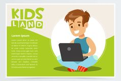 Smiling teenager boy sitting with laptop on his lap. Card or poster with schoolboy flat cartoon character. Vector. Smiling teenager boy sitting with laptop on Royalty Free Stock Photos