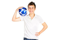 Smiling teenager Boy with soccer ball Royalty Free Stock Photography