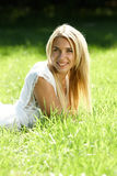 Smiling teenager in field royalty free stock photos