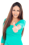 Smiling teenager girl with brackets saying Ok Royalty Free Stock Photos
