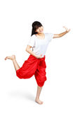 Smiling teenager girl dancing with thai style Royalty Free Stock Images