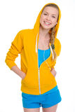 Smiling teenager girl in earphones Royalty Free Stock Photography