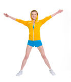 Smiling teenager girl jumping Royalty Free Stock Photography