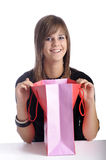 Smiling teenager with shopping bag Stock Image
