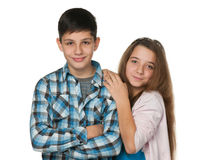Smiling teenagers stock image