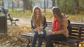 Smiling Teenagers Enjoying a Fast Food and Some Beverage are Sitting on the Bench in the Park and Talking. Two Cute. Smiling Teenagers Enjoying a Fast Food and stock video footage