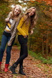 Smiling teenagers in the forest Royalty Free Stock Photo