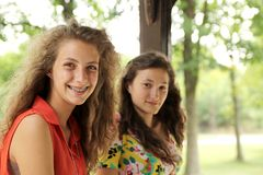 Smiling teens. Portrait of two nice and smiling teenager girl Stock Images