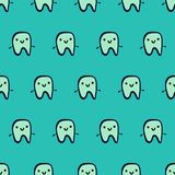 Smiling teeth hand drawn seamless pattern on blue font vector illustration