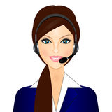 Smiling telephone operator. Vector illustration of smiling telephone operator Stock Photos