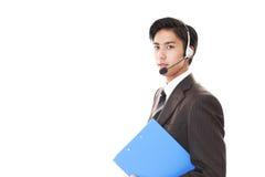 Smiling telephone operator Stock Image