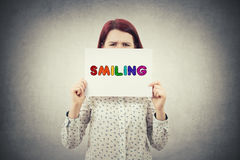 Smiling text emotion Stock Images