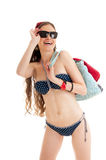 Smiling thin girl wearing swimsuit. Royalty Free Stock Photography