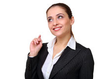 Smiling thinking woman have a idea Royalty Free Stock Photography