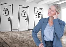 Smiling thoughtful businesswoman against drawn doors royalty free illustration