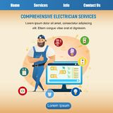 Smiling Thumb Up Handyman from Electician Service. Happy Worker Wearing Uniform and Special Cap, Leaning on TV Screen or Computer Monitor. Ready to Repair stock illustration