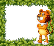 A smiling tiger and plant frame Stock Image