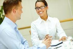 Smiling to colleague Stock Image