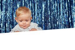 Smiling toddler child with banner Royalty Free Stock Images
