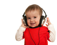 Smiling toddler with headphones Stock Image