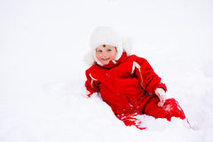 Smiling toddler in snow Royalty Free Stock Photography