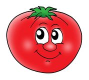 Smiling tomato. Smiling red tomato - color illustration Stock Photo