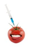 Smiling tomato and syringe injecting isolated Royalty Free Stock Image