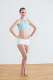 Smiling toned woman standing in fitness studio Royalty Free Stock Photography