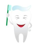 Smiling tooth. Isolated on the white background Stock Image