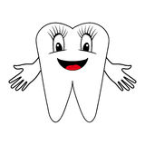 Smiling tooth with divorced hands Royalty Free Stock Image