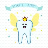 Smiling tooth fairy. Smiling cartoon tooth fairy with wings on dotted background. Oral dental hygiene. Teeth whitening and restoration. Dental health symbol Royalty Free Stock Images
