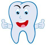 Smiling tooth. Happy smiling tooth with thumbs up isolated on a white background Royalty Free Illustration