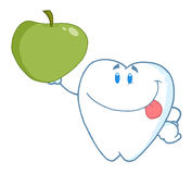 Smiling tooth holding up a green apple Royalty Free Stock Photo