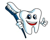 Smiling tooth with tooth-brush Stock Images