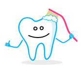 Smiling tooth with toothbrush. Dental hygiene illustration Stock Images