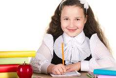 Smiling toothlessing schoolgirl Stock Images