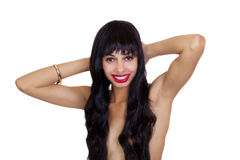 Smiling Topless African American Woman Hair Over Breasts Royalty Free Stock Photography